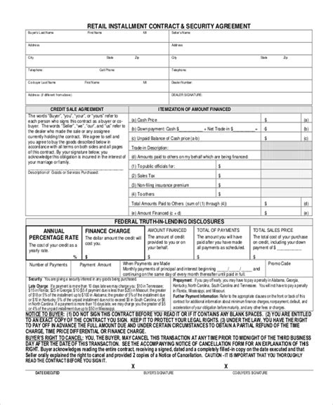 Sle Security Agreement Form 10 Free Documents In Doc Pdf Retail Installment Contract Template