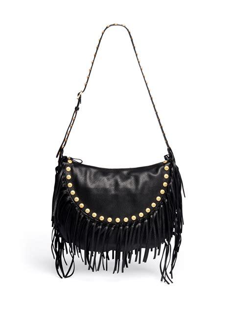 valentino gryphon stud fringe leather hobo bag on sale black day shoulder bags