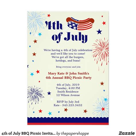 4th of july invitation templates 4th of july bbq picnic invitation zazzle