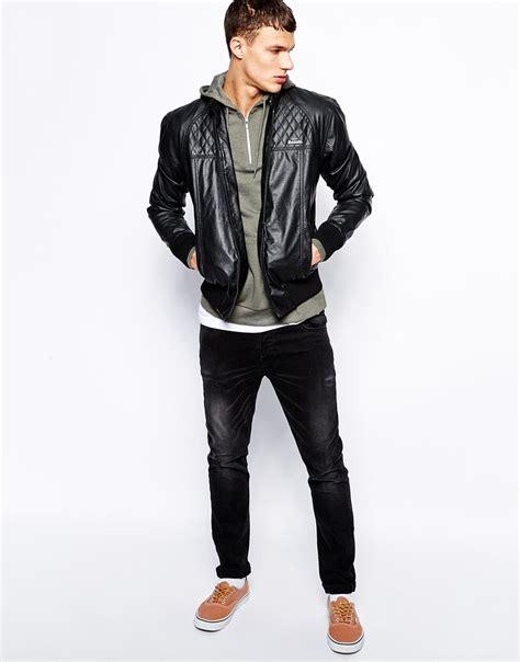 bench denim jacket lyst bench jacket faux leather biker in black for men