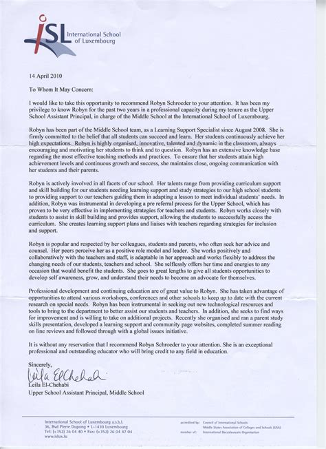 Letter Of Recommendation Principal sle reference letter for assistant principal position