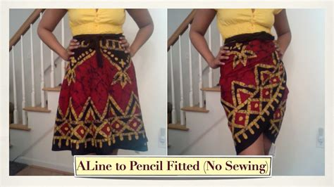 turn an a line wrap skirt into a fitted skirt without