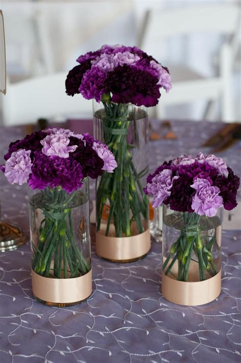 purple wedding centerpieces on pinterest inexpensive trio of cylinder vases with varying shades of purple