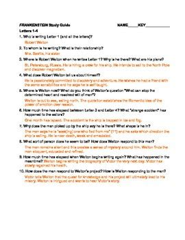 Shelley's Frankenstein Chapter Questions and Answer Key | TpT Frankenstein Sparknotes Chapter 11
