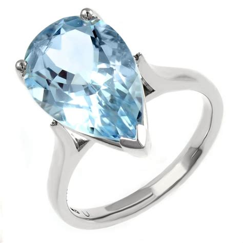 platinum 5 07ct pear shape aquamarine ring jewellery