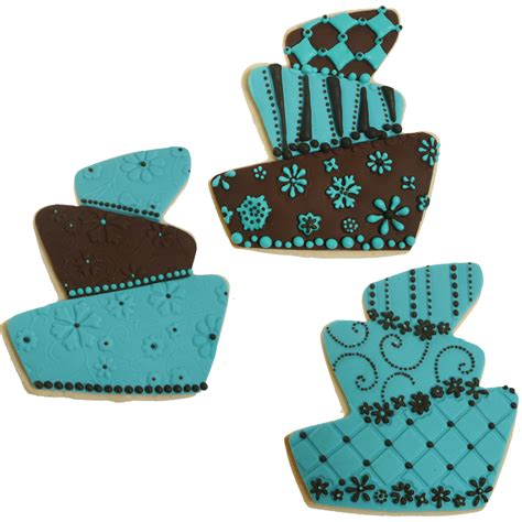 turquoise and brown whimsy cake cookies cookie decorating