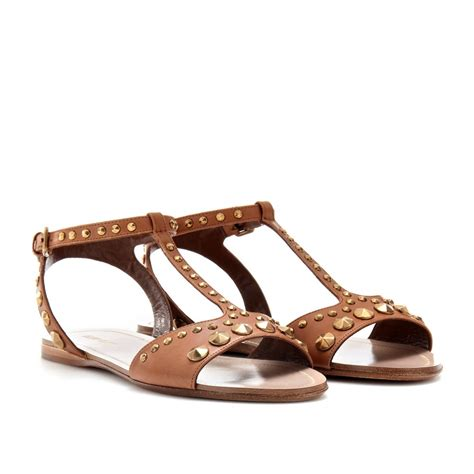 Sandal Studed lyst miu miu studded leather sandals in brown