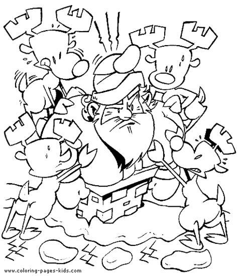 funny christmas coloring sheet for kids santa is stuck