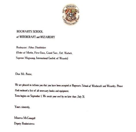 How Do You Write A College Acceptance Letter write a harry potter acceptance letter hogwarts make