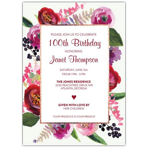 Oral Garden Th  Ee  Birthday Ee   Invitations Paperstyle