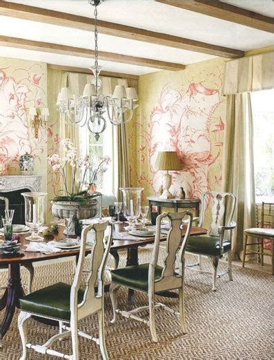 soft red wall mural  formal french country style dining