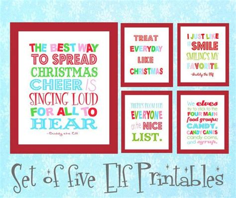 elf on the shelf movie night printable 11x14 set of six buddy the elf christmas digital art