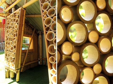 giant grass builds bamboo cubby house  recycled materials