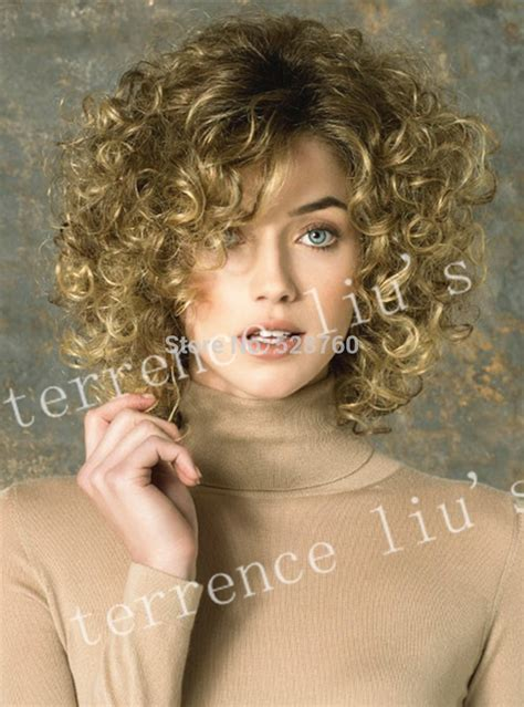 full volume curls hairstyle light brown blonde full volume curls heat resistant fiber