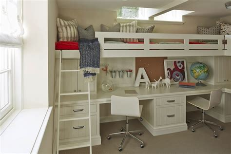 Bunk Bed With Built In Desk Bed Desk Transitional Boy S Room Benjamin Alaskan Skies Martha O Hara Interiors