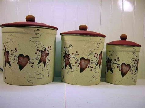 primitive kitchen canister sets primitive country rusty tin stars hearts pip berry
