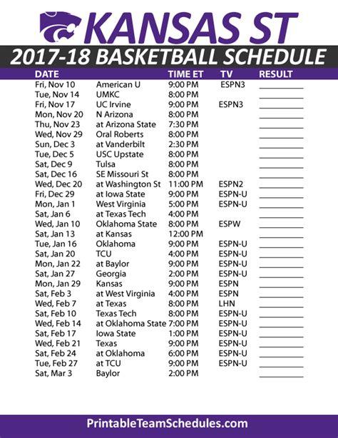 uk basketball schedule for tournament printable kansas state basketball schedule 2017 18