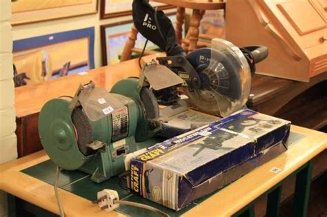 powercraft bench grinder powercraft bench drill drill stand bench grinder mitre saw and reciprocating saw 5
