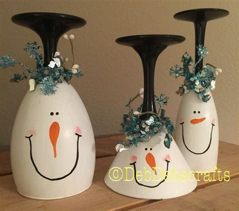 christmas wine glass candle holder snowman wine glasses