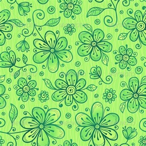 flower pattern green green doodle flowers vector seamless pattern by art of sun