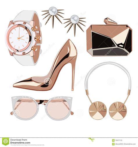 fashion illustration accessories golden fashion accessories stock vector image 70577110