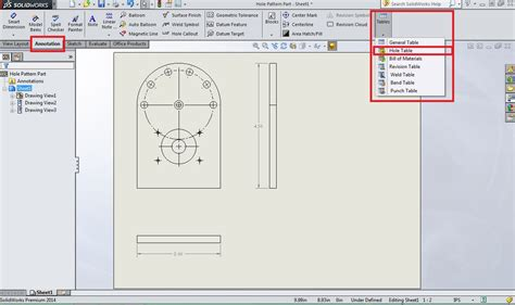 solidworks sketch pattern edit solidworks tools hole tables computer aided technology
