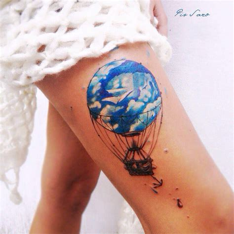 hot air balloon tattoo designs air balloon on thigh best ideas designs