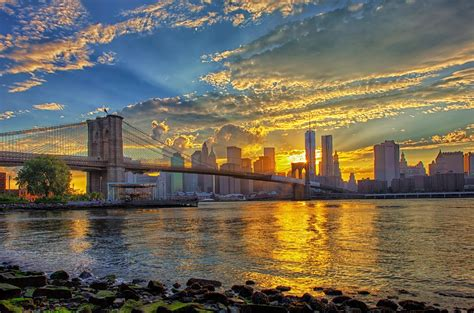 bridges brooklyn bridge sunrise beautiful  york sky wallpaper wide wallpaperscom
