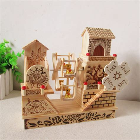 home decor gift fashion house floor wooden windmill music box garden