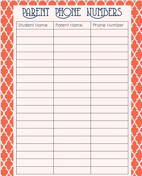 printable phone list template 7 best images of phone contact list printable printable