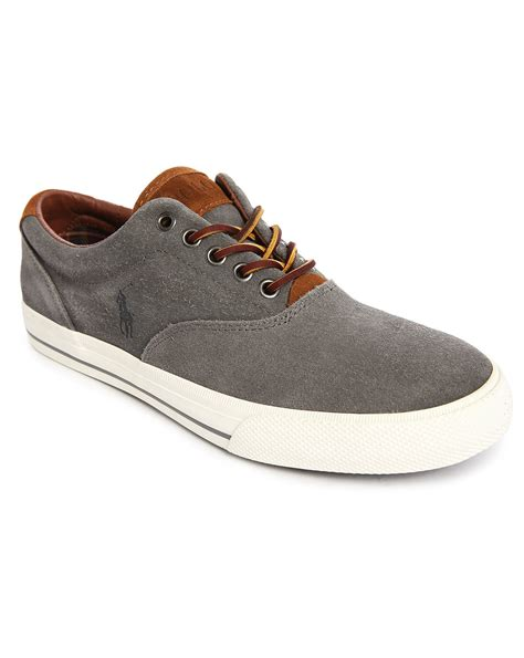 polo leather sneakers polo ralph vaughn grey suede leather laced sneakers