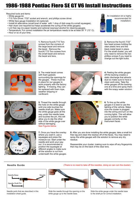 free download parts manuals 1984 pontiac fiero instrument cluster purchase 1986 1988 pontiac fiero 120 mph se gt v6 coupe dash cluster white face gauges