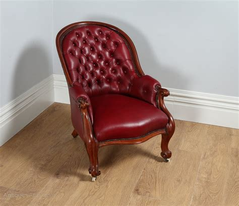 red leather armchair victorian mahogany gentlemens red leather armchair
