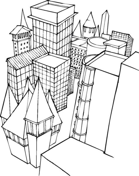 free city buildings coloring pages