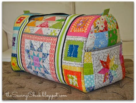 the sewing patchwork rainbow duffle bag