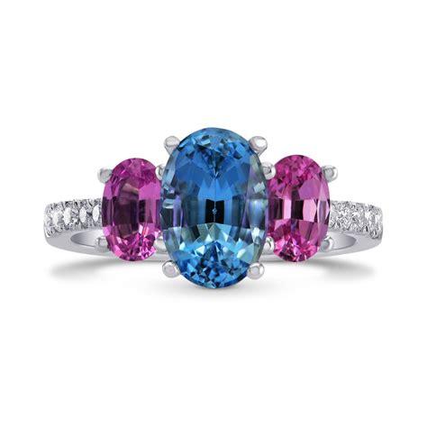 Blue Sapphire 7 72ct blue aquamarine pink sapphire oval 3 ring