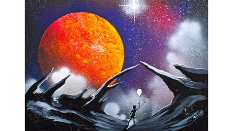 spray painting tutorial easy how to make this galaxy lanscape using acrylic paints