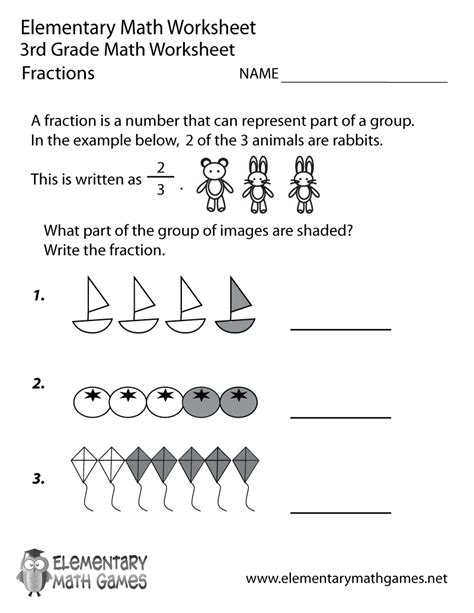 Worksheets For 3rd Grade Math by Third Grade Fractions Worksheet