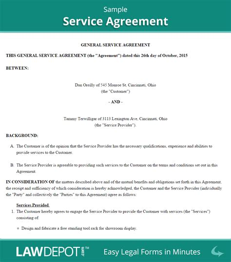 agreement of services template service agreement form free service contract template