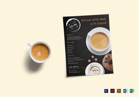 Coffee Shop Flyer Design Template In Psd Word Publisher Illustrator Indesign Coffee Shop Template