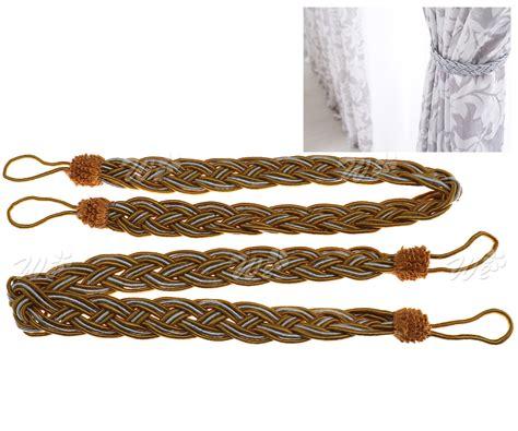 curtain rope holdbacks 2 x braided satin rope curtain tie backs holdbacks holder