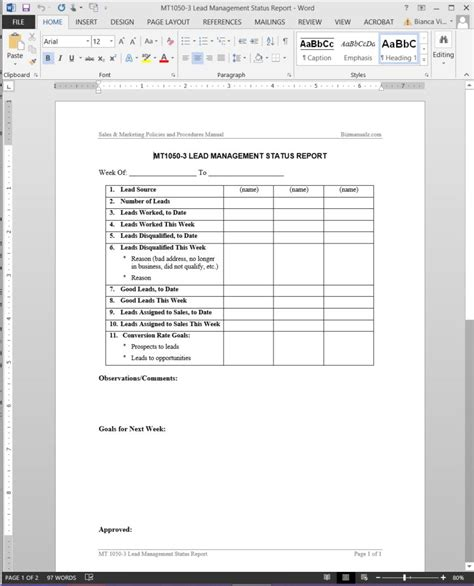 lead management status report template