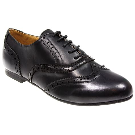 womens oxford brogue lace up pumps school office