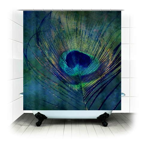 peacock feather shower curtain plume peacock feather fabric shower curtain by rdelean on etsy