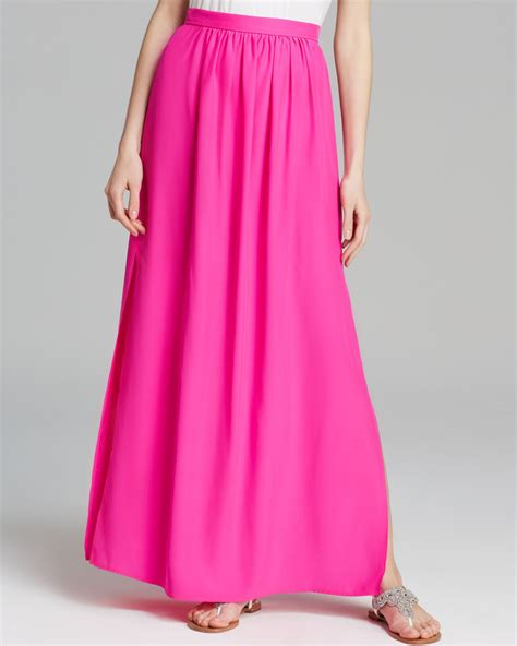 amanda uprichard maxi skirt slit silk in pink pink