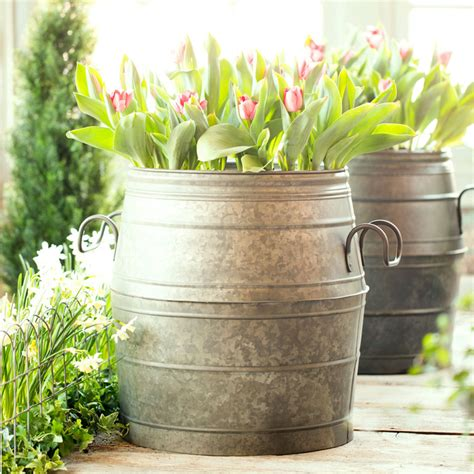 Metal Planters by Galvanized Metal Barrel Planter The Green