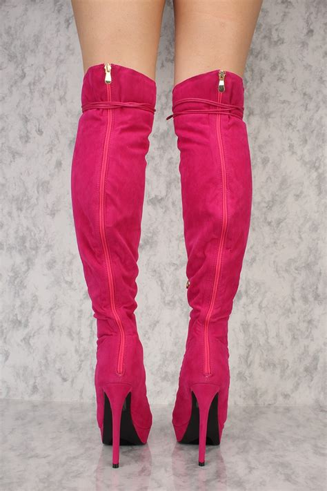 Aikatsu Pink Suede Knee High Boots pink suede front lace up platform knee high ami