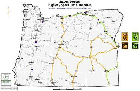oregon map highways higher speed limits fewer places to pass on oregon