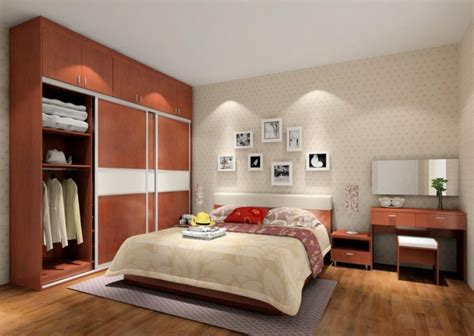 bedroom interior design with large wardrobe 3d house
