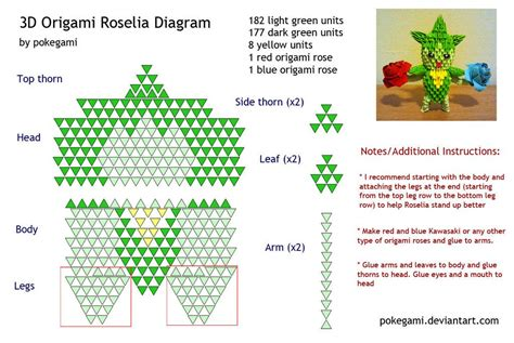 printable 3d origami instructions 3d origami roselia diagram by pokegami deviantart com on